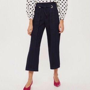 Topshop Wide Leg Crop Jeans Tie Front Size 32x30